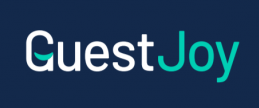 GuestJoy logo - colour on blue